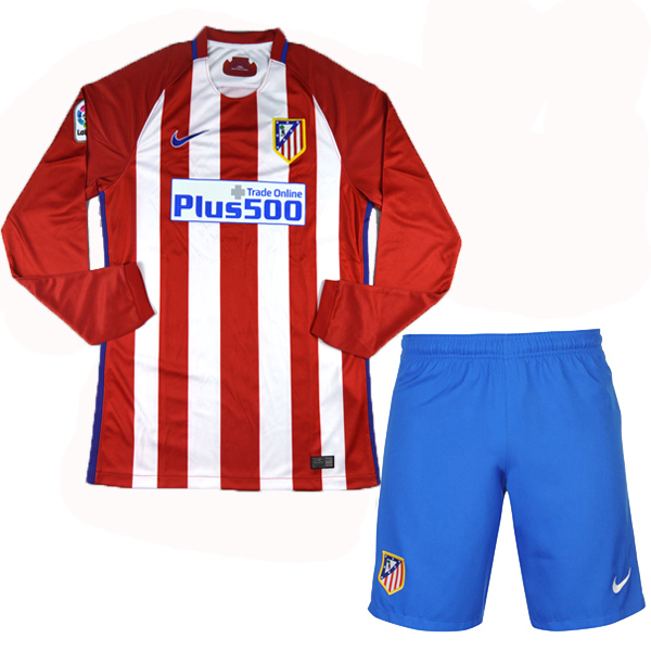 the latest 4a3bc 2cd86 16-17 Atletico Madrid Home LFP Version Long Sleeve Jersey Kit(Shirt+Short)