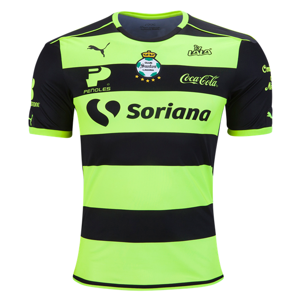6b59ea885 16-17 Santos Laguna Away Black Green Soccer Jersey Shirt
