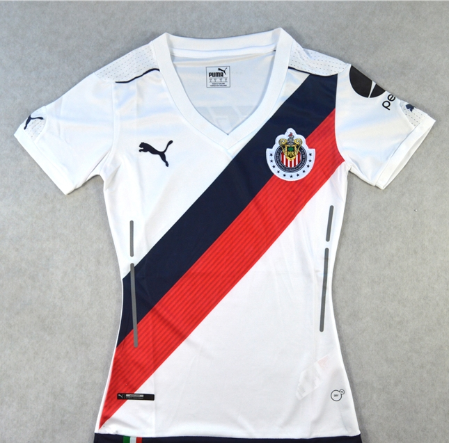 18971409 16-17 Deportivo Guadalajara Away White Women's Jersey Shirt