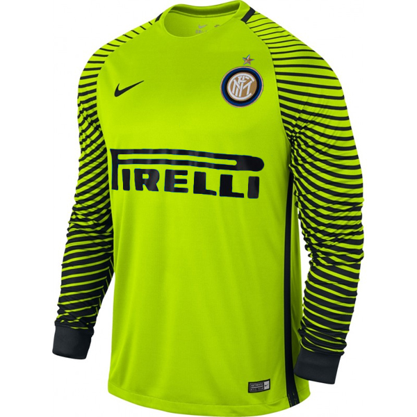73743211552 16-17 Inter Milan Goalkeeper Green Long Sleeve Jersey Kit(Shirt+Short)