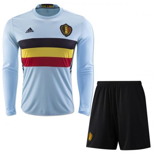 ea050d401 2016 Belgium Away Blue Long Sleeve Jersey Kit(Shirt+Short)