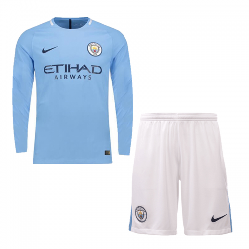 the latest 89a20 efa1b 17-18 Manchester City Home Long Sleeve Jersey Kit(Shirt+Short)