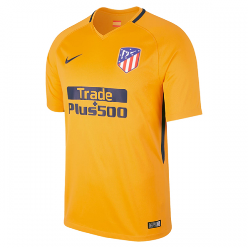 innovative design e41a1 5d394 17-18 Atletico Madrid Authentic Away Yellow Soccer Jersey Shirt