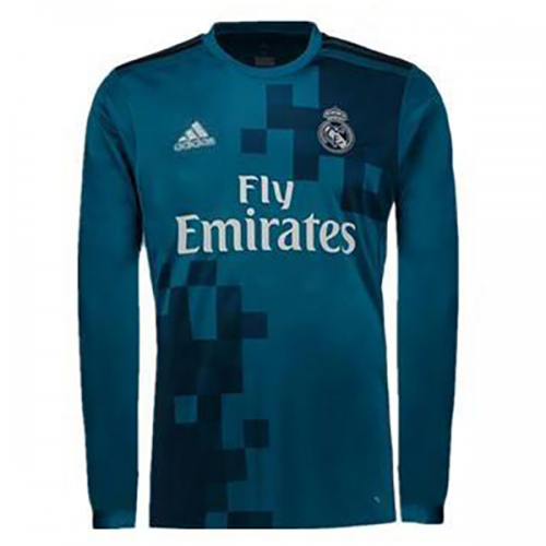 new style 7a60f d9ec8 17-18 Real Madrid Third Away Blue Long Sleeve Jersey Kit(Shirt+Shorts)