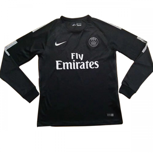 half off f8595 69faf 17-18 PSG Away Black Long Sleeve Soccer Jersey Shirt