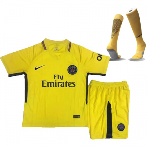 info for f2ab6 c6e8a 17-18 PSG Away Yellow Children's Jersey Whole Kit(Shirt+Shorts+Socks)