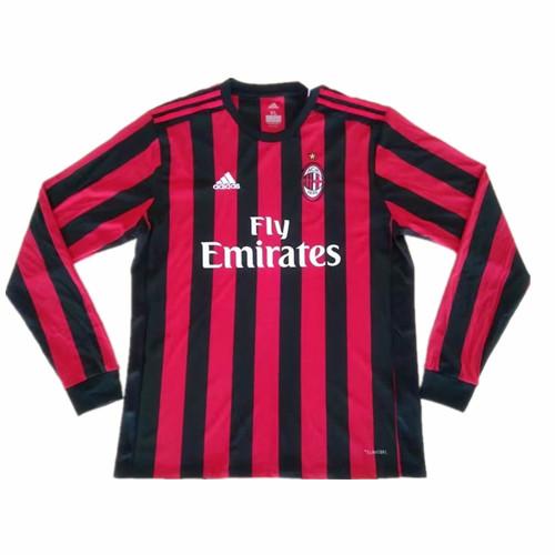 huge discount 2c378 ec072 17-18 AC Milan Home Long Sleeve Jersey Kit(Shirt+Short)