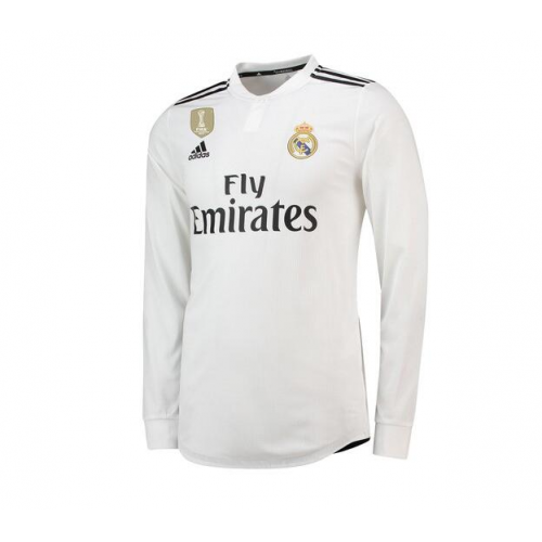 ... 18-19 Real Madrid Home White Long Sleeve Jersey Kit(Shirt+Short) ... b568cb83c