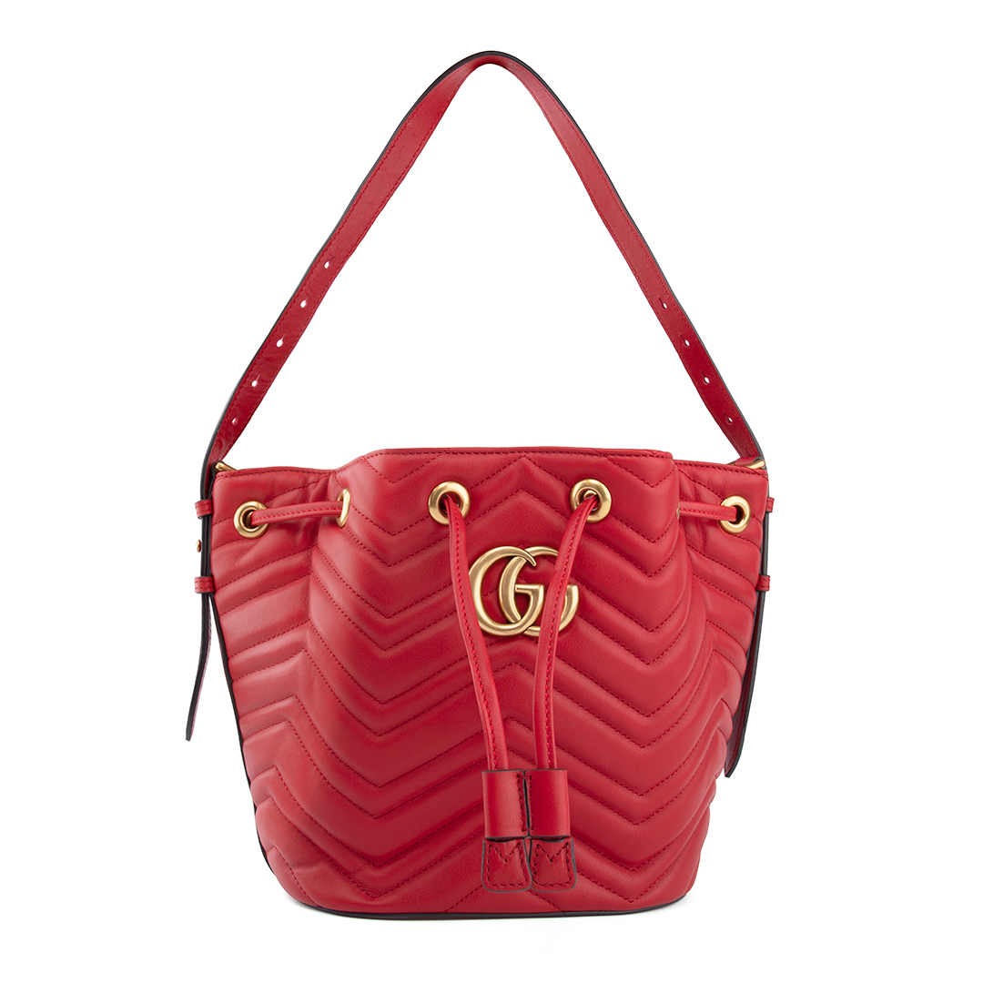 43843b09e Gucci GG Marmont Quilted Leather Bucket Bag-Red 476674 | Shoulder ...