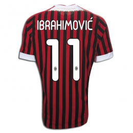 huge discount ccdfd f61a5 11/12 AC Milan #11 Ibrahimovic Home Soccer Jersey Shirt Replica