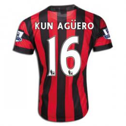 separation shoes 7316d 5b945 11/12 Manchester City #16 Kun Aguero Away Replica Red And Black Soccer  Jersey Shirt