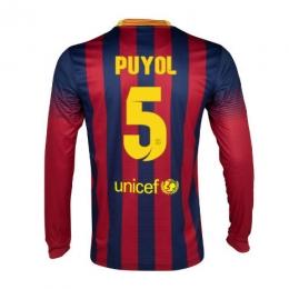 0f2349aa231 13-14 Barcelona  5 Puyol Home Long Sleeve Soccer Jersey Shirt ...