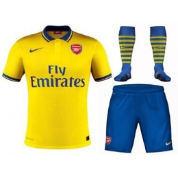 984d88d66 13-14 Arsenal Away Yellow Jersey Whole Kit(Shirt+Short+Socks ...