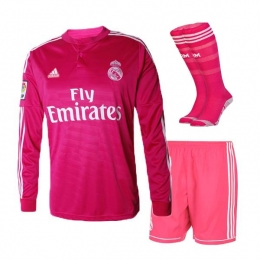 eb7146e9a36 14-15 Real Madrid Away Pink Long Sleeve Jersey Whole Kit(Shirt+Short+Socks)
