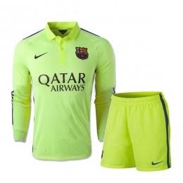 755dcde61 14-15 Barcelona Away Long Sleeve Third Green Jersey Shirt Kit(Shirt+Short)