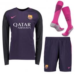 best loved 8bd04 468ba 16-17 Barcelona Away Deep Purple Long Sleeve Whole Kit(Shirt+Short+Socks)