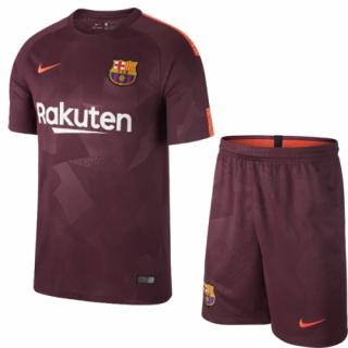 free shipping 13d3f 8e000 17-18 Barcelona Third Away Red Soccer Jersey Kit(Shirt+Shorts)