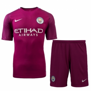 brand new 02126 428f7 17-18 Manchester City Away Purple Jersey Kit(Shirt+Shorts)