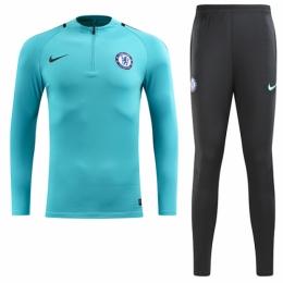 17-18 Chelsea Light Blue Training Kit(Zipper Shirt+Trousers ... 1f20202af