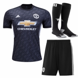 Manchester United 17 18 Away Black Soccer Full Kits(Shirt+Short+Socks) 23304f0426a8