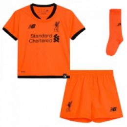 520e7854664 17-18 Liverpool Third Away Orange Children s Jersey Whole Kit(Shirt+Short+ Socks)
