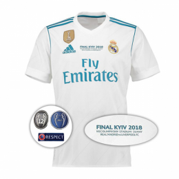 reputable site 45bee 1a50d 17-18 Real Madrid Home UCL Final Version Soccer Jersey Shirt