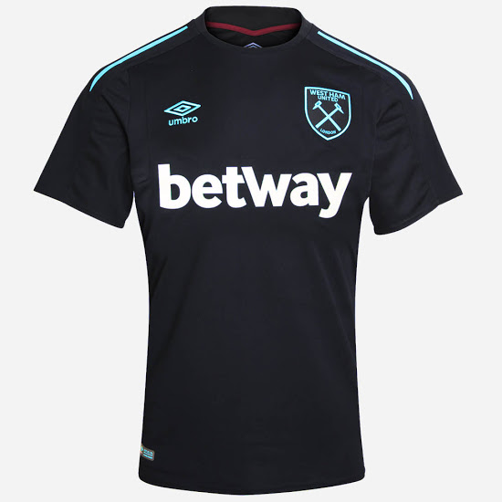 0c62a8a9f9c Combining the main color black with turquoise blue applications, the new West  Ham 17-18 away kit is the first-ever black West Ham United away jersey in  ...