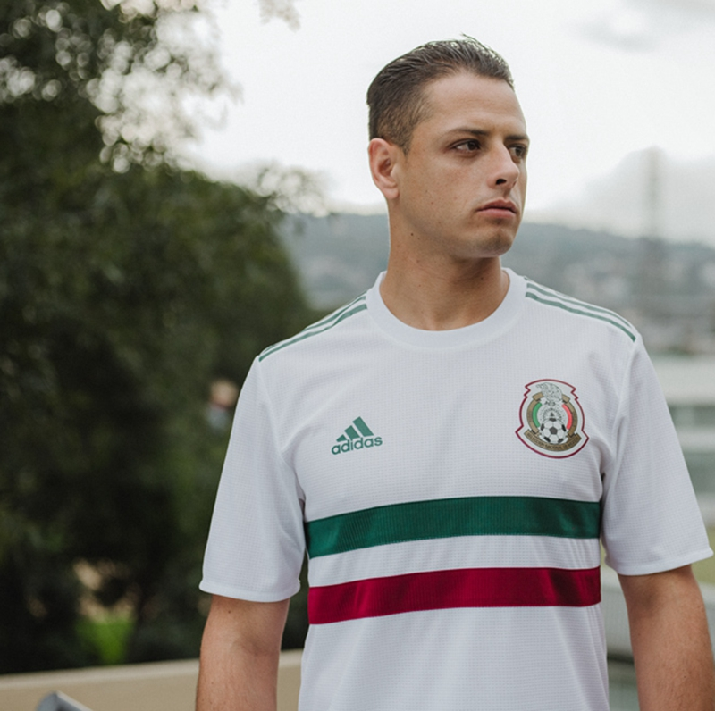 6ceb88295 ... the Mexico 2018 World Cup away jersey is predominantly white with a  red
