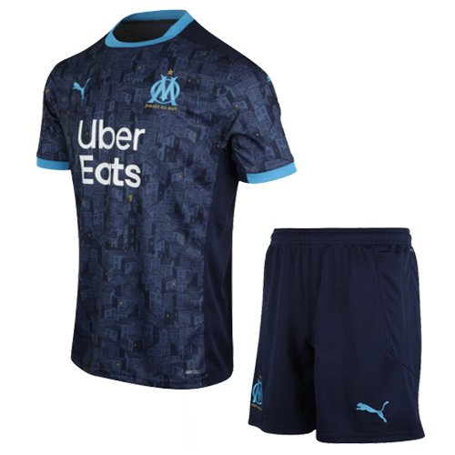 20/21 Marseille Away Kit Navy Soccer Jerseys Kit(Shirt+Short)