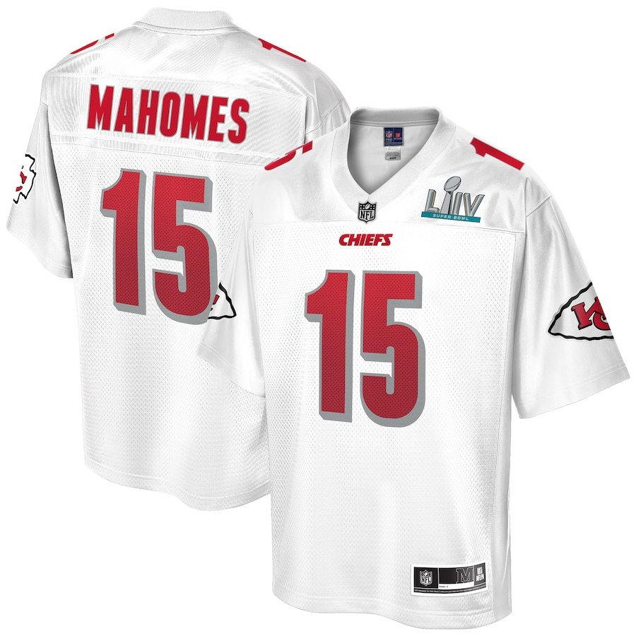 Patrick Mahomes #15 Kansas City Chiefs Super Bowl LIV Champions Jersey - White
