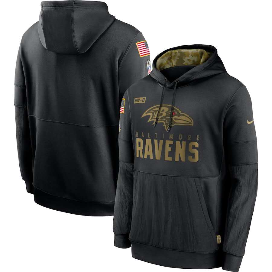 Men's Baltimore Ravens Black 2020 Salute to Service Sideline Performance Pullover Hoodie