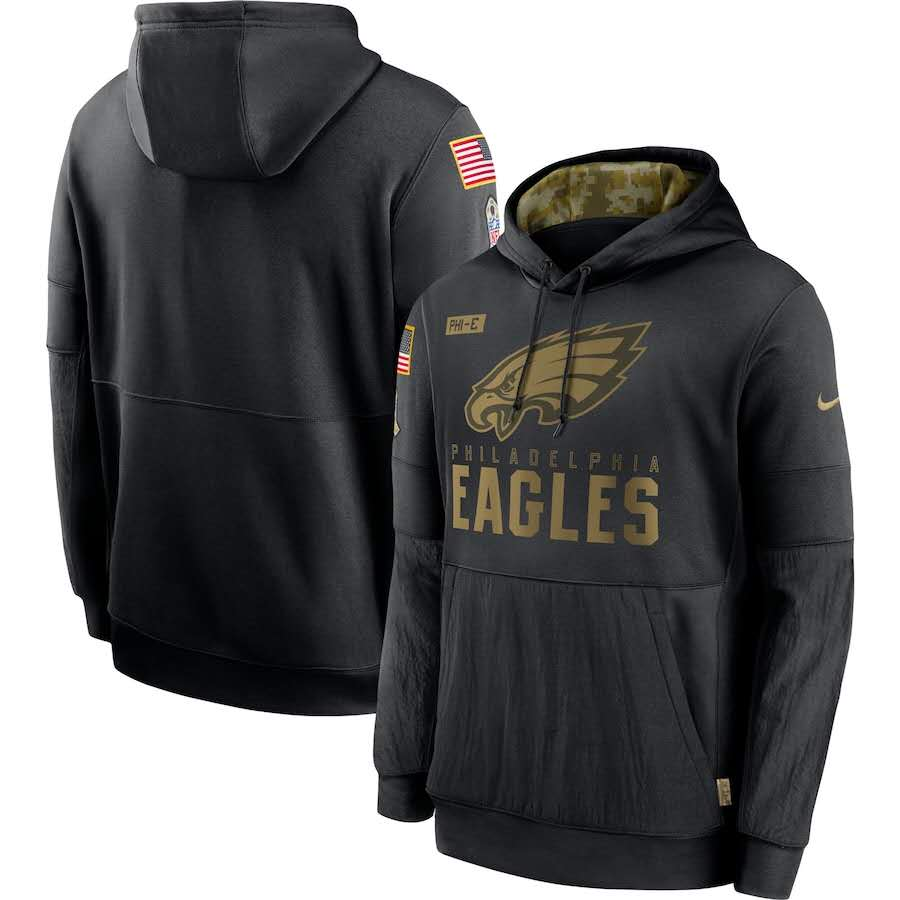 Men's Philadelphia Eagles Black 2020 Salute to Service Sideline Performance Pullover Hoodie