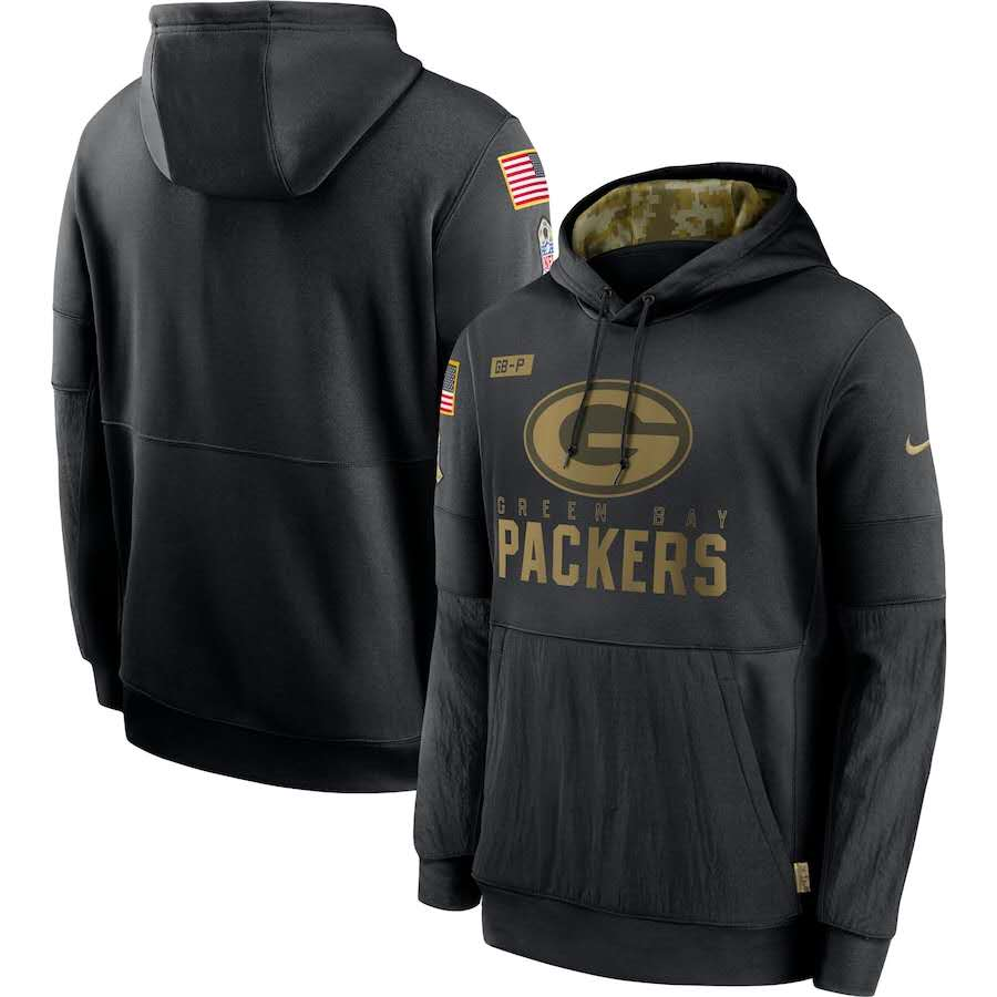 Men's Green Bay Packers Black 2020 Salute to Service Sideline Performance Pullover Hoodie