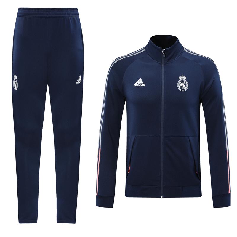20/21 Real Madrid Navy&Red High Neck Collar Training Kit(Jacket+Trouser)