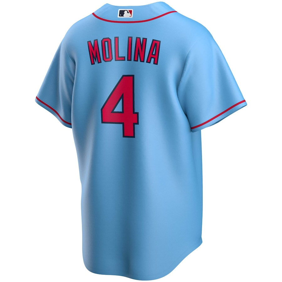 Yadier Molina #4 St. Louis Cardinals Nike Alternate 2020 Replica Player Jersey - Light Blue