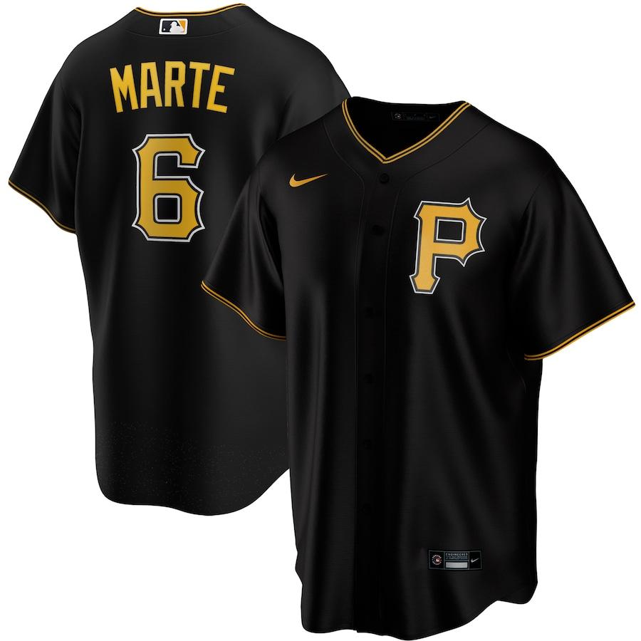 Starling Marte #6 Pittsburgh Pirates Nike Alternate 2020 Replica Player Jersey - Black