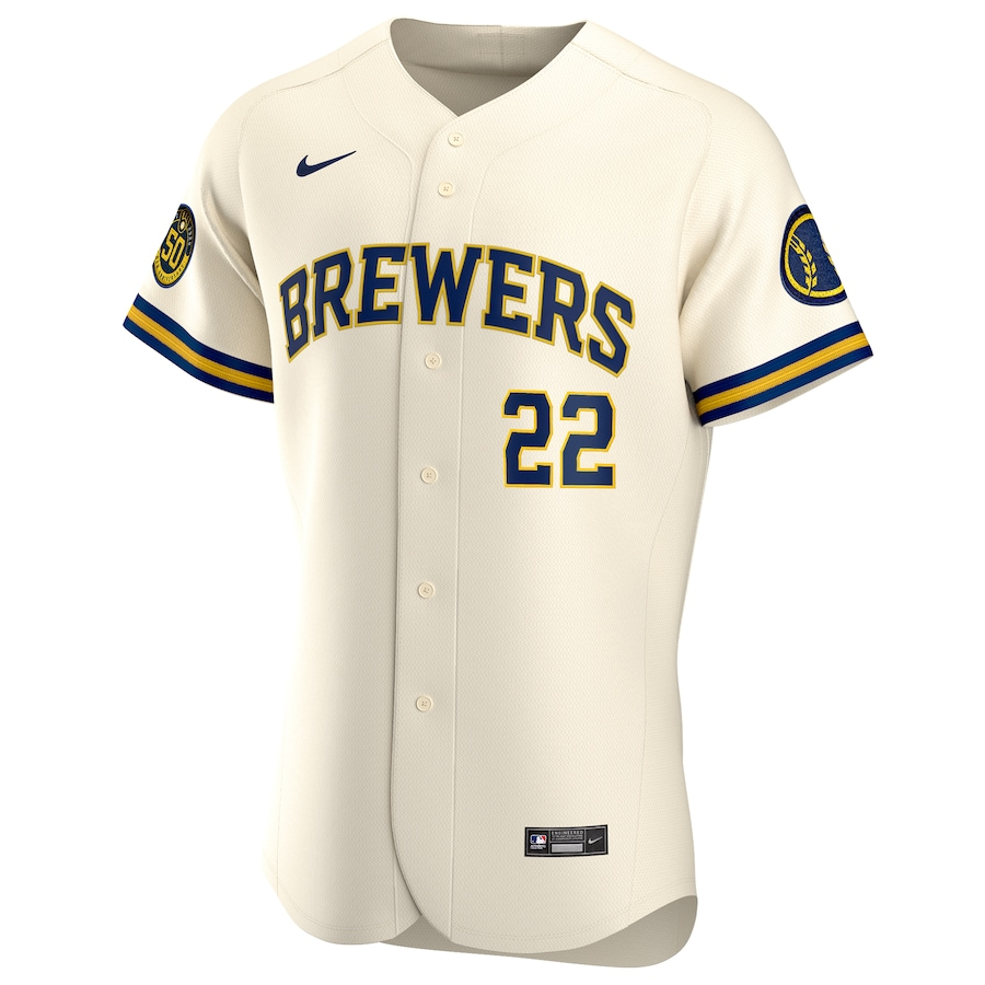 Christian Yelich #22 Milwaukee Brewers Nike Home 2020 Authentic Player Jersey - Cream