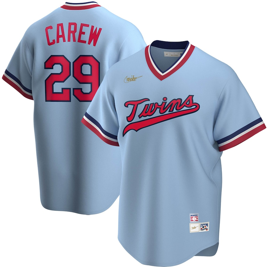 Rod Carew #29 Minnesota Twins Nike Road Cooperstown Collection Player Jersey - Light Blue