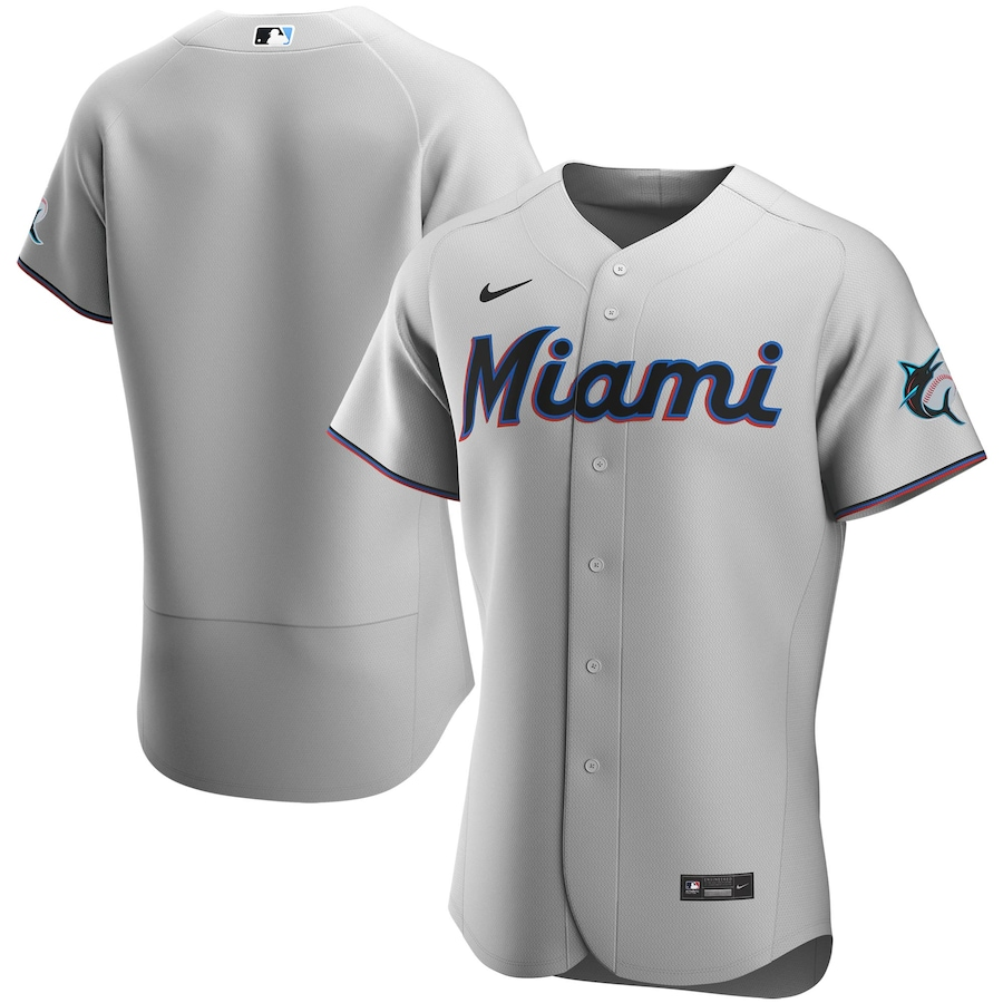 Miami Marlins Nike Road 2020 Authentic Team Jersey - Gray