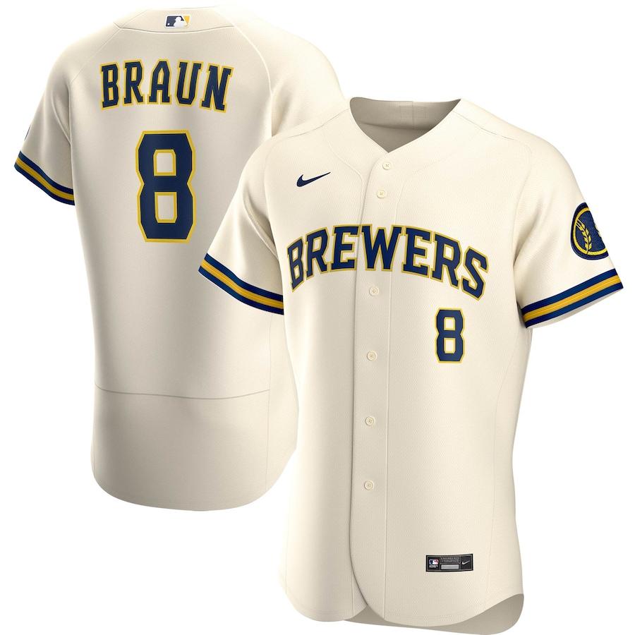 Ryan Braun #8 Milwaukee Brewers Nike Home 2020 Authentic Player Jersey - Cream