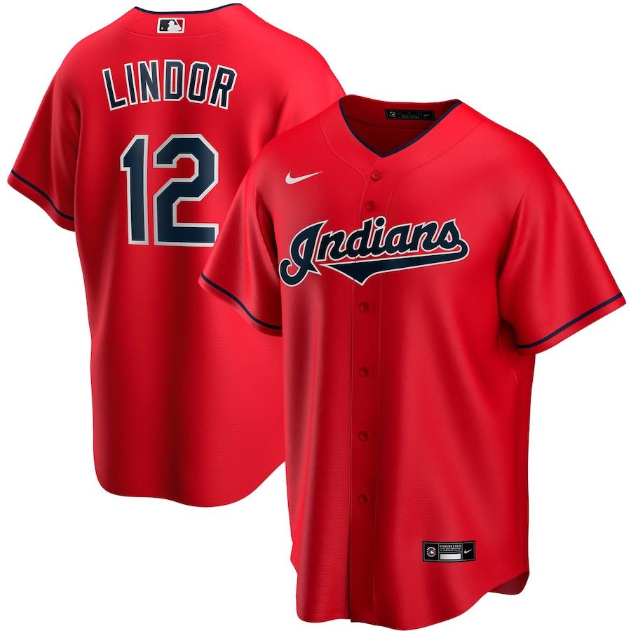 Francisco Lindor #12 Cleveland Indians Nike Alternate 2020 Replica Player Jersey - Red