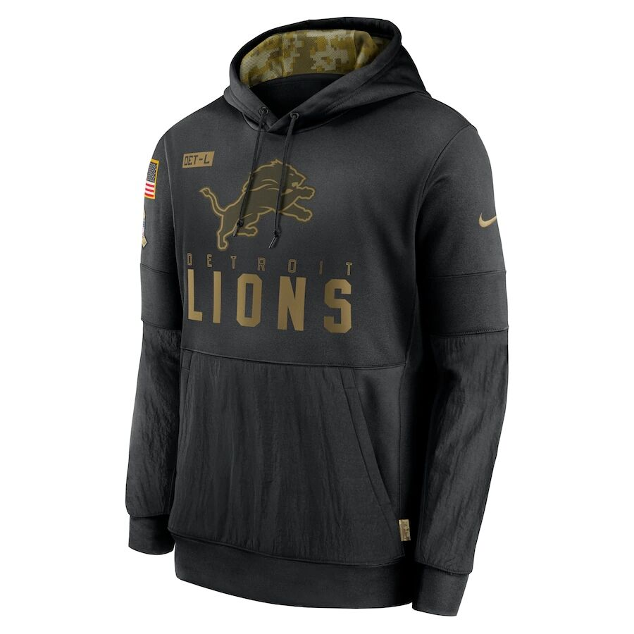 Men's Detroit Lions Black 2020 Salute to Service Sideline Performance Pullover Hoodie