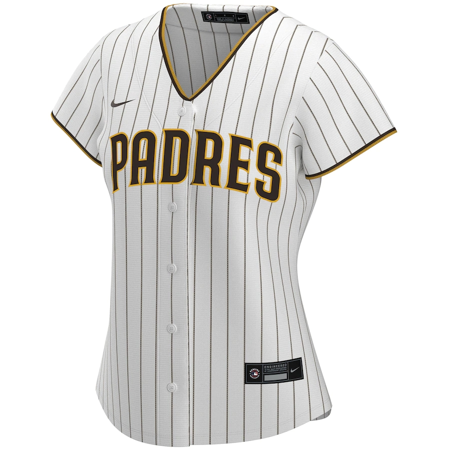 2020 Women's San Diego Padres Home Custom Jersey Nike White&Brown Shirt
