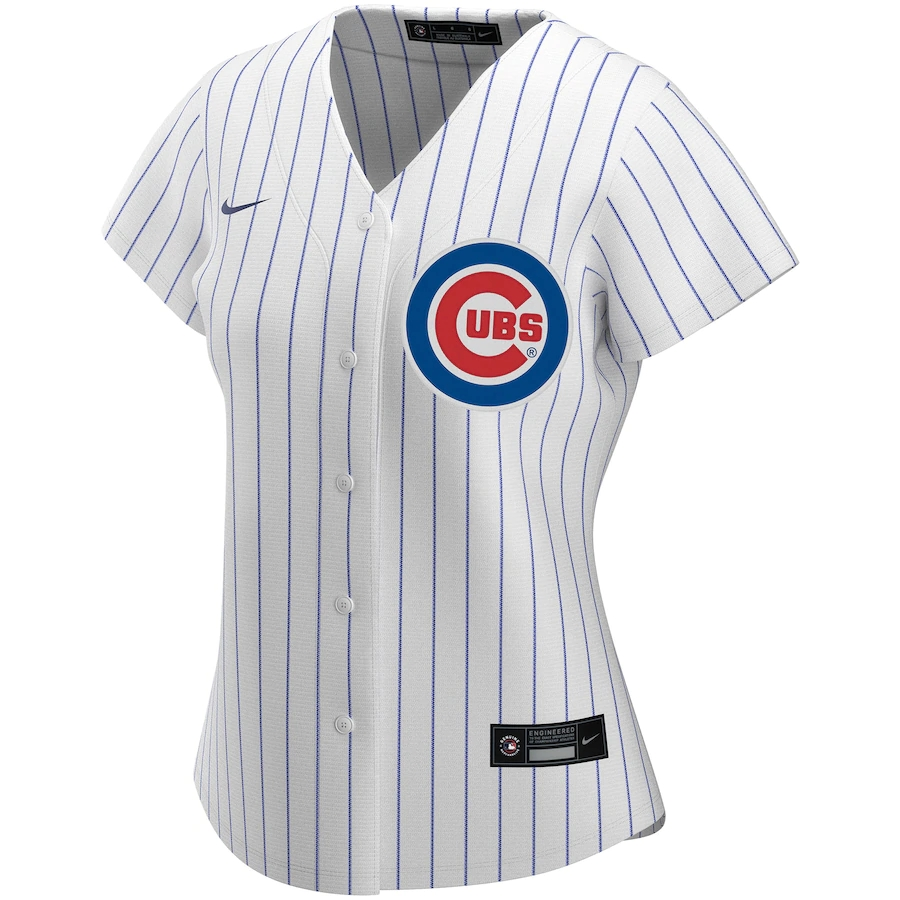 2020 Women's Chicago Cubs Home Replica Custom Jersey White&Royal Nike MLB Jersey