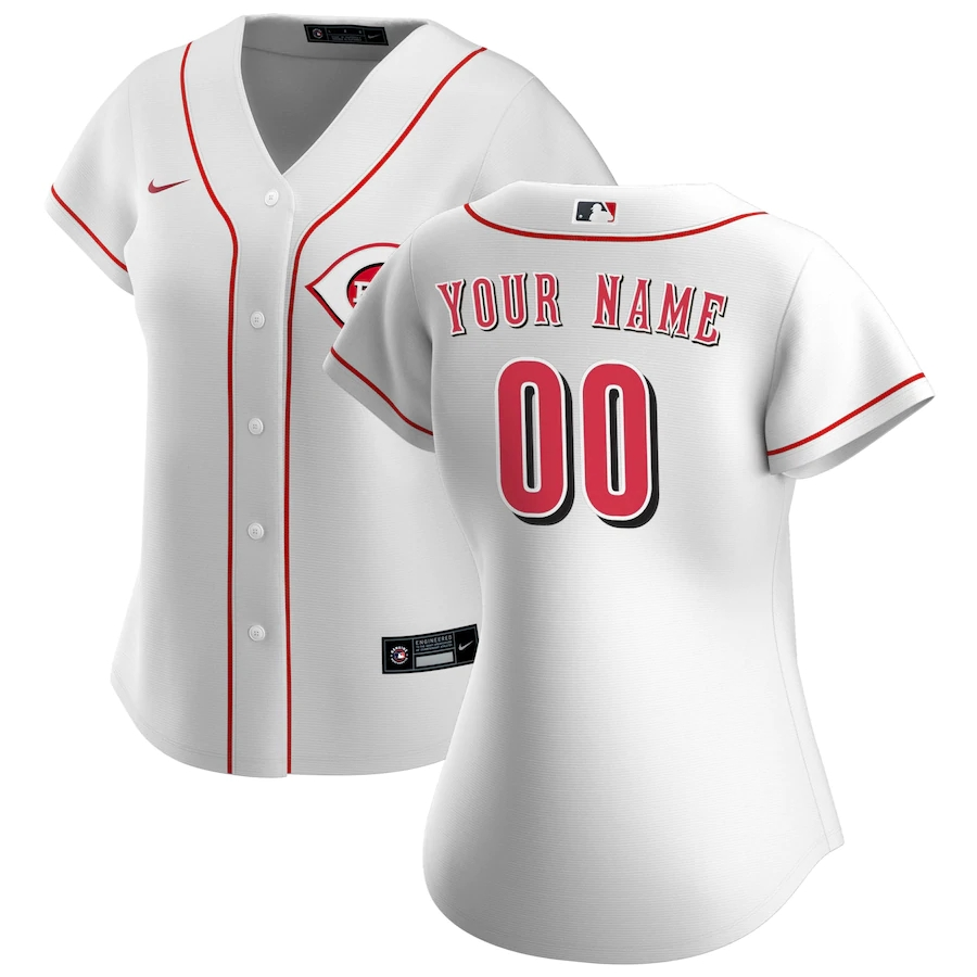 Women's 2020 Cincinnati Reds Home Custom Jersey Nike White Replica Jersey
