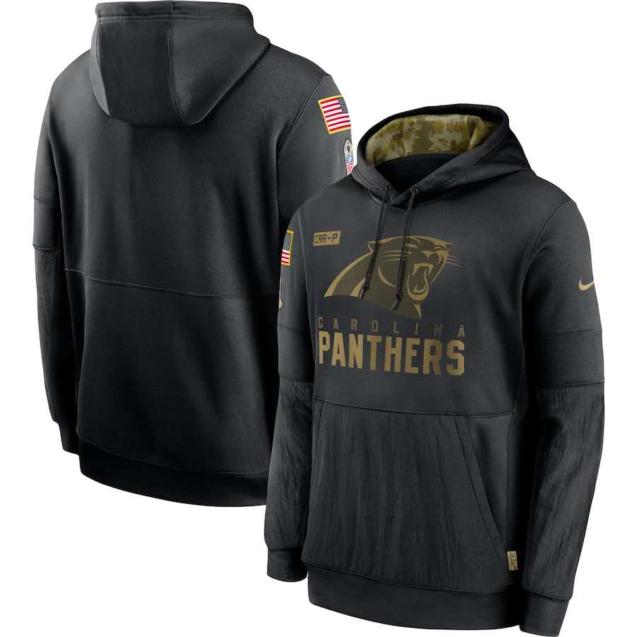 Men's Carolina Panthers Black 2020 Salute to Service Sideline Performance Pullover Hoodie