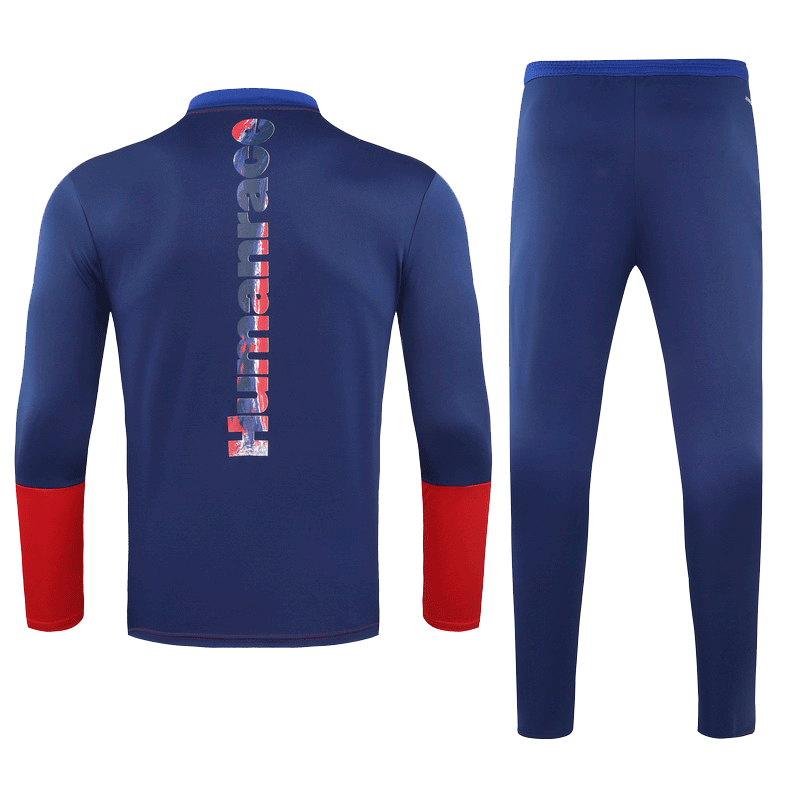 Bayern Munich Human Race Training Kit Red&Blue Zipper Sweat Shirt Kit(Top+Trouser)