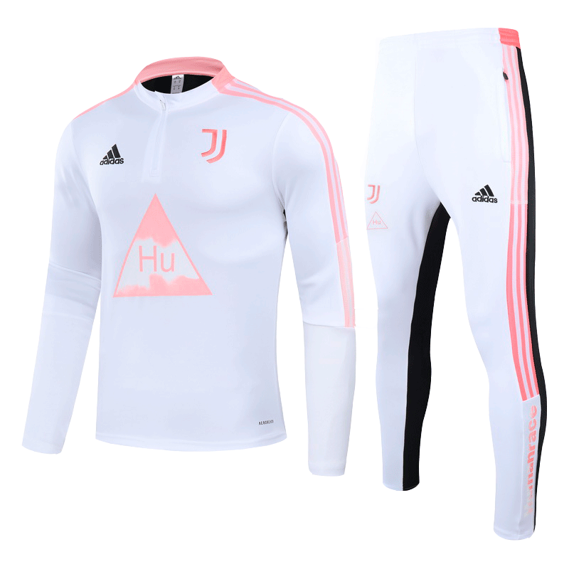 Juventus Human Race Training Kit Pink&White Zipper Sweat Shirt Kit(Top+Trouser)