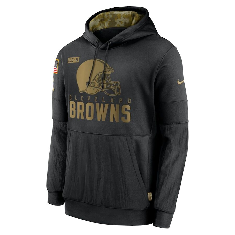 Men's Cleveland Browns Black 2020 Salute to Service Sideline Performance Pullover Hoodie