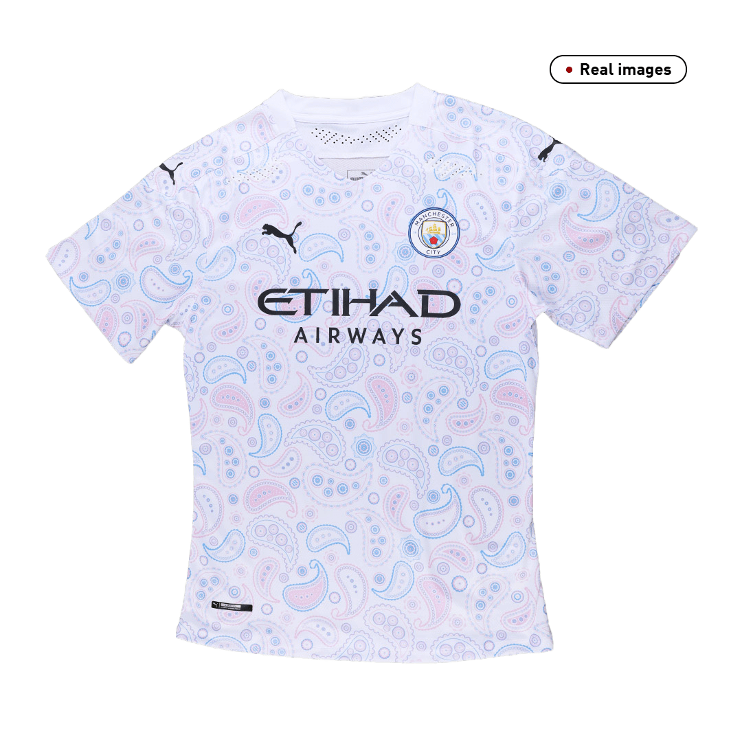 20/21 Manchester City Third Authentic Jersey Away White Soccer Shirt